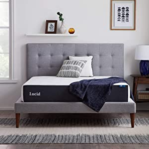 LUCID 10 Inch 2020 Gel Memory Foam Mattress - Plush Feel - CertiPUR-US Certified - Hypoallergenic Bamboo Charcoal - Queen