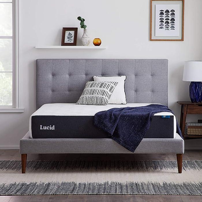 LUCID 10 Inch 2020 Gel Memory Foam Mattress - Plush Feel - CertiPUR-US Certified - Hypoallergenic Bamboo Charcoal - Queen