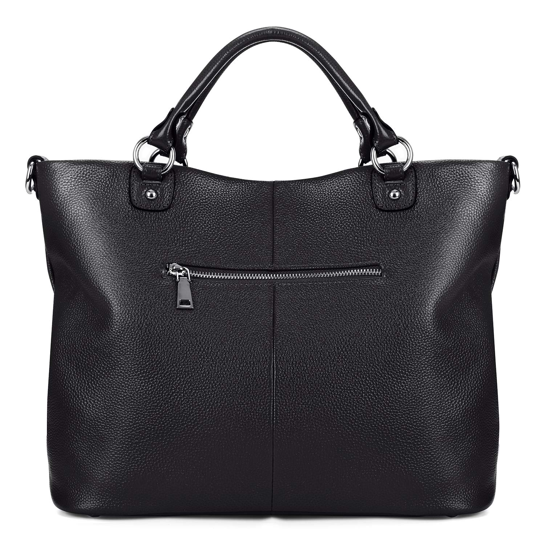 7685317e78 Amazon.com  Kattee Women s Soft Genuine Leather 3-Way Satchel Tote Handbag  Black  Shoes