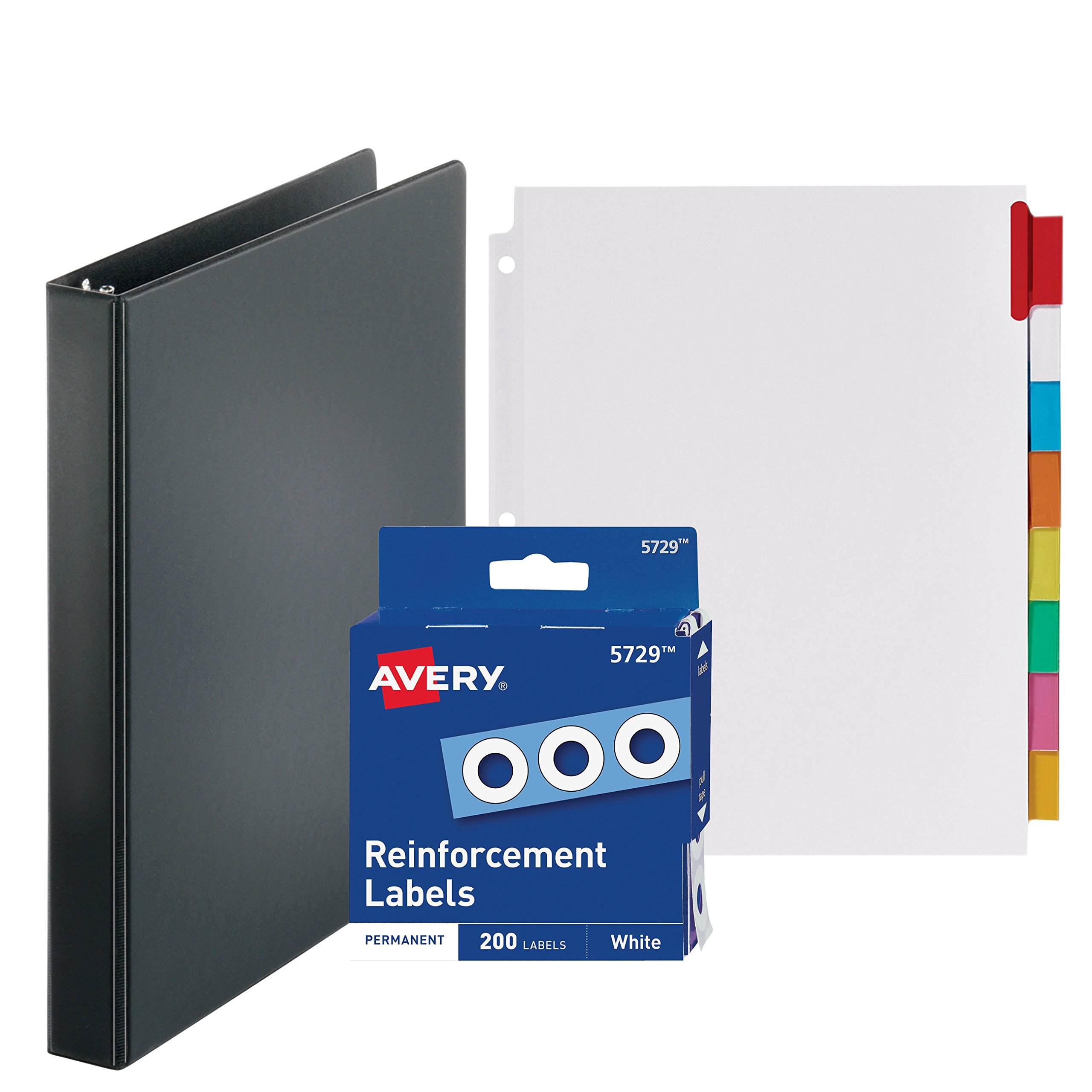 3-Ring Binder, 1 Inch - With Big Tab Insertable Extra Wide Dividers 8 Multicolor Tabs - With 200 White Hole Reinforcements, Hole Reinforcers for 3 Ring Binders - Value Set (Black Ring Binder)