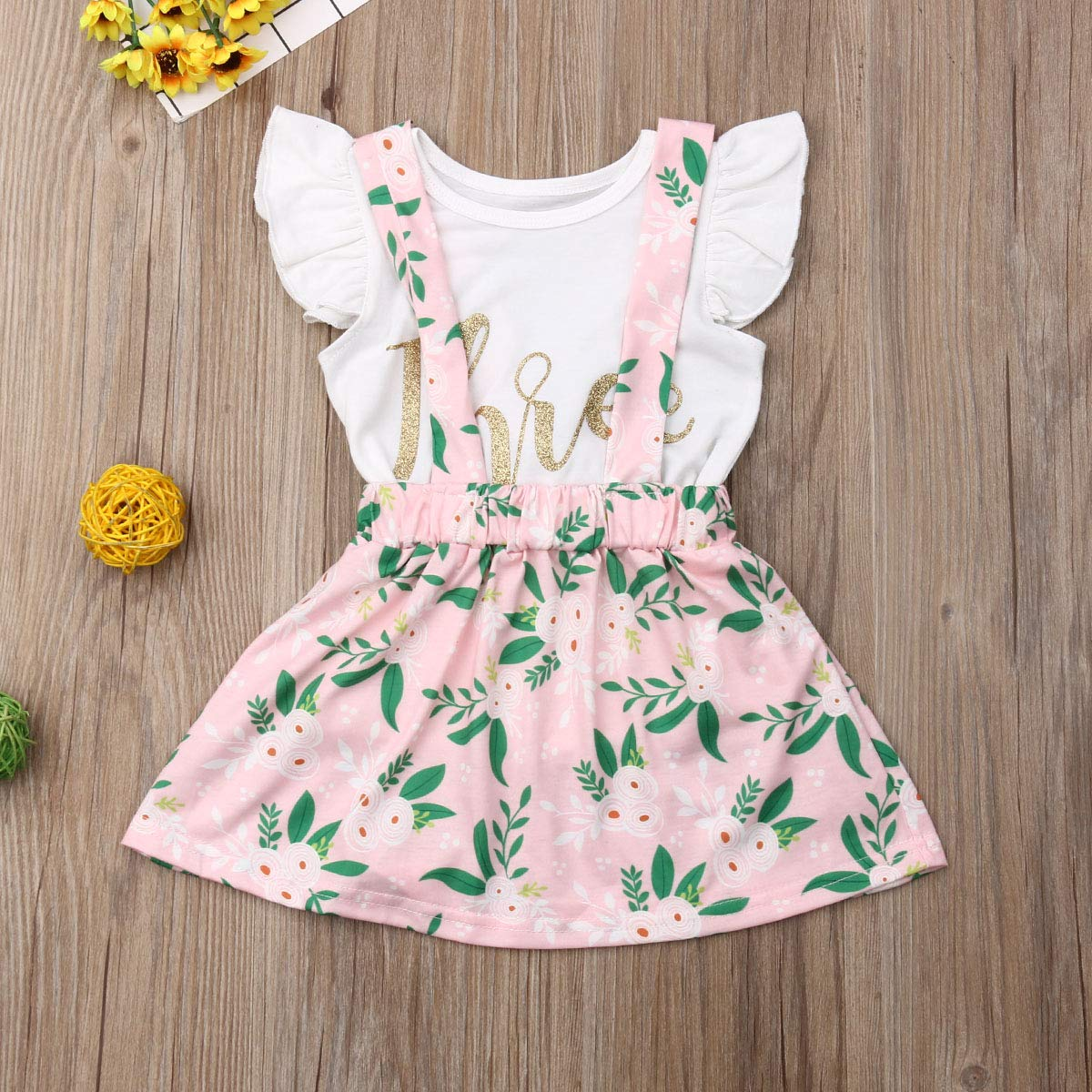 Granny/&Gramps Love Baby Girls Third Birthday Outfits Ruffle Sleeve T-Shirt Top and Floral Suspender Skirts Set