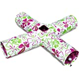 Cat Tunnel Toy 4 Way for Large Indoor Cats Flower Print Crinkly (4, Purple)