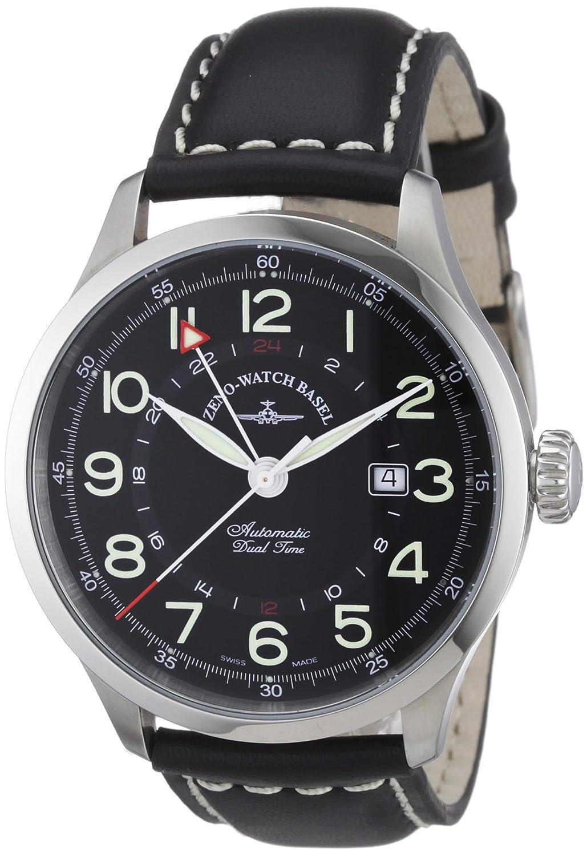 Zeno Watch Basel 6302GMT-a1 - Reloj analógico automático para Hombre con Correa de Piel, Color Negro