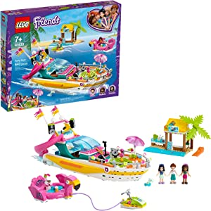 LEGO Friends Party Boat 41433 Building Kit Including LEGO Friends Emma, Andrea and Ethan Mini-Doll Figures, Beach Store and Flamingo Party Boat, Great Summer Toy for Kids, New 2020 (640 Pieces)