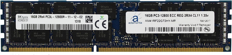 Adamanta 16GB (1x16GB) Server Memory Upgrade for Dell Poweredge & Precision Servers Hynix Original DDR3L 1600Mhz PC3L-12800 ECC Registered 2Rx4 CL11 1.35v P/N: SNP20D6FC/16G DRAM RAM
