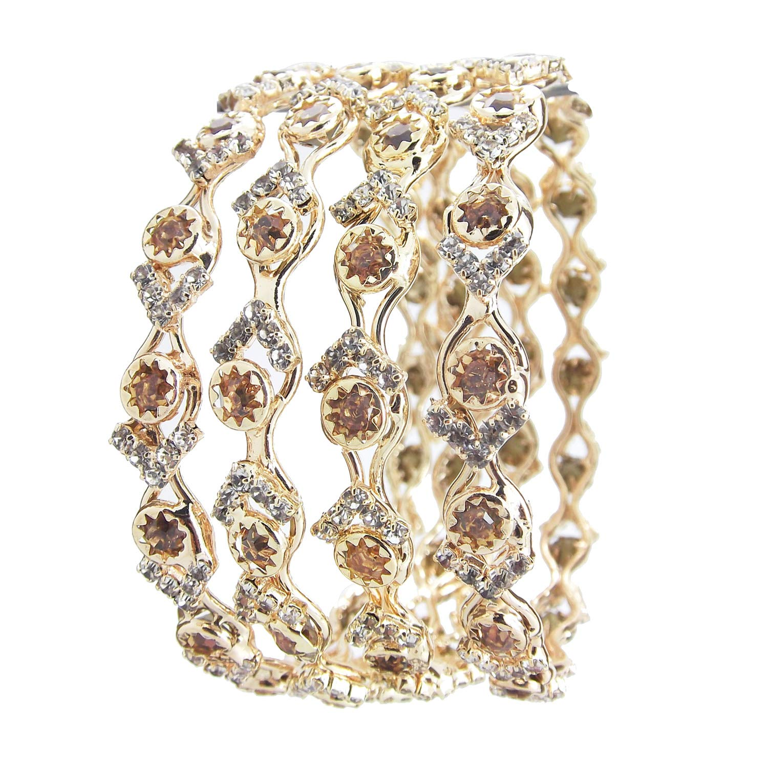 Biyu Rose Gold Plated Collection LCT CZ Stone 4pc Bangles for Womens Girls