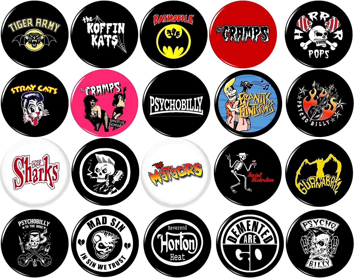 Set of 6 THE CRAMPS 25mm Badges GREAT VALUE. PSYCHOBILLY