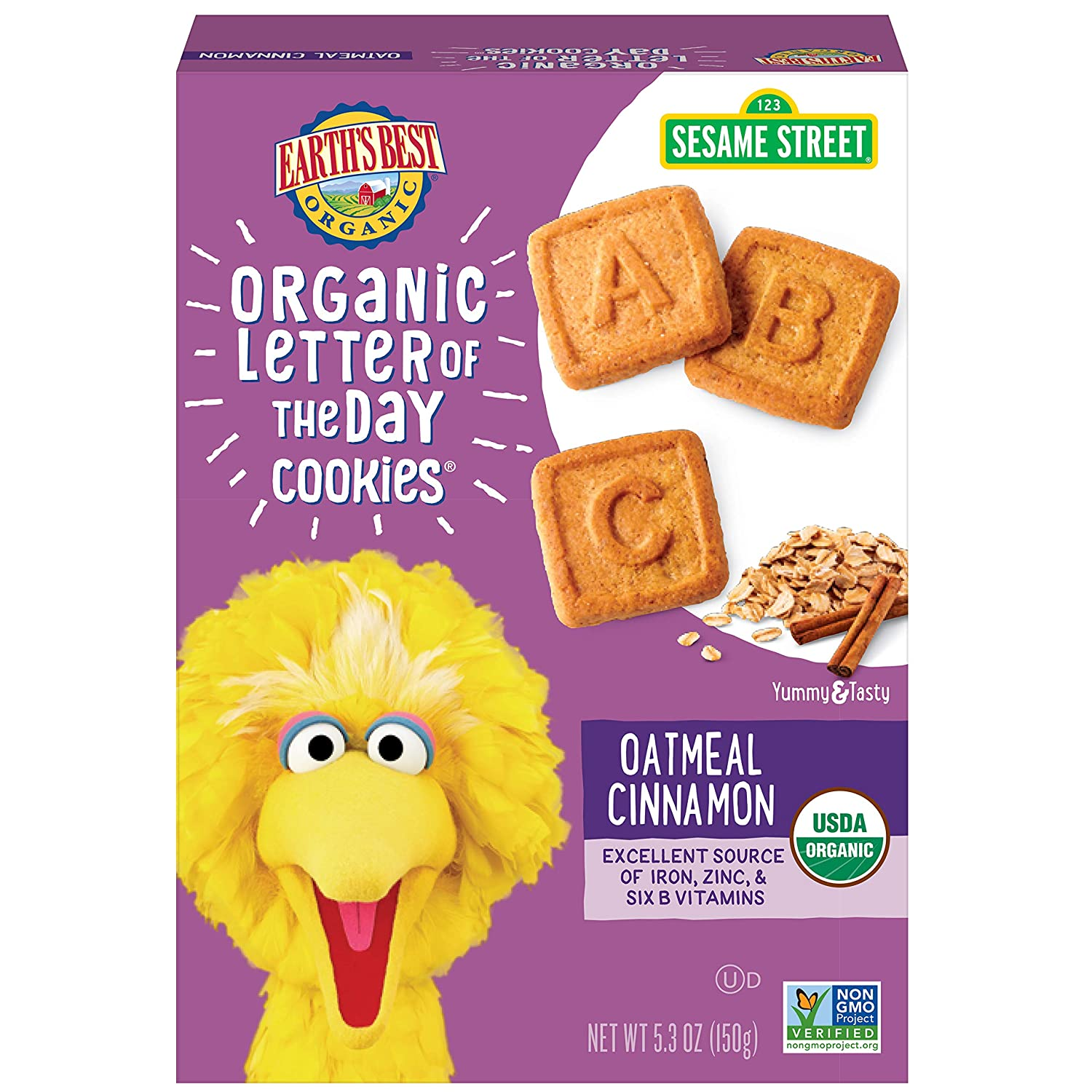 Earth's Best Organic Sesame Street Toddler Letter of the Day Cookies, Oatmeal Cinnamon, 5.3 oz. Box