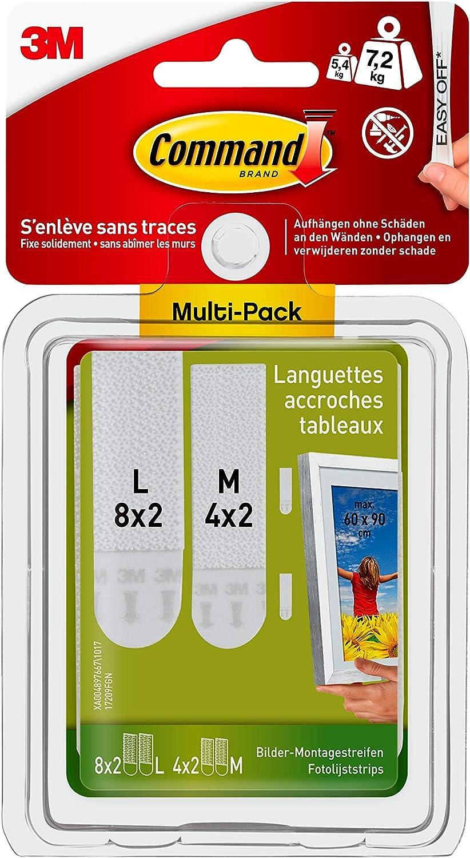 8 larges Command Pack de 12 Languettes Repositionnables 4 moyennes /& Accroches Cadre /à T/ête Clou avec Languettes Larges