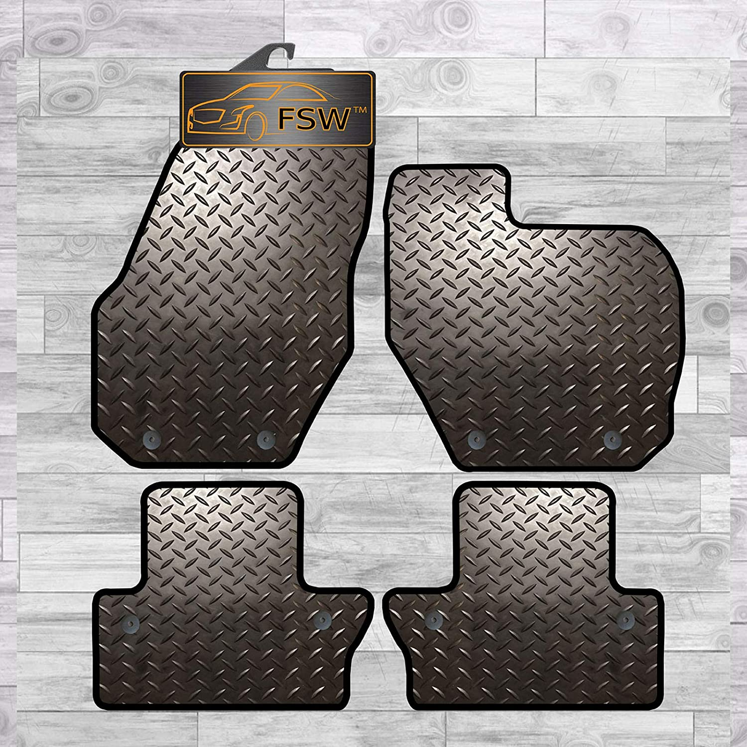 FSW V60 With Clips 2010-2018 Manual Tailored 3MM Waterproof Rubber Heavy Duty Car Floor Mats