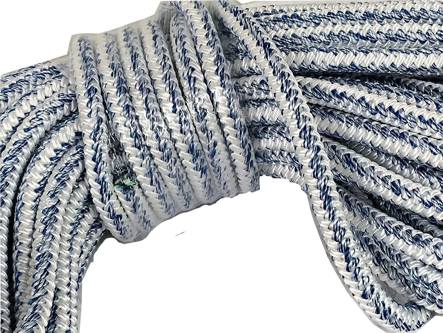 3/4'' X 60' 12 carrier, 24-strand Arborist Bull Rope, White/Blue