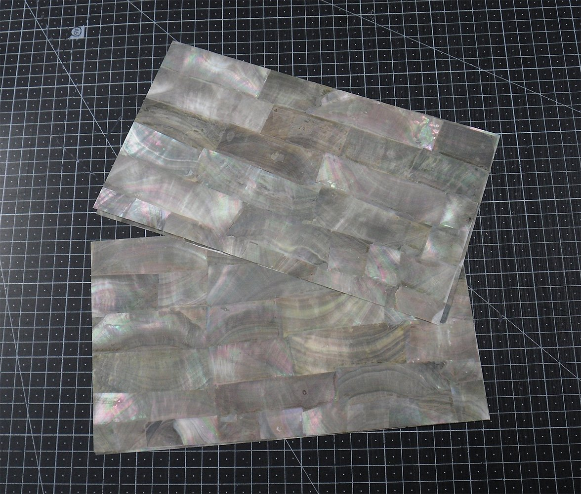 Black MOP Mother of Pearl abalone shell inlay veneer 9.5 x 5.5 x 0.006 inch
