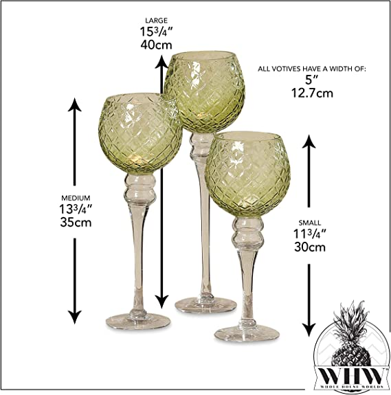 by Whole House Worlds 15 3//4 5 Inch Candle Cup for Votive Candles 13 3//4 and 11 3//4 Inches Tall Set of 3 Quilted Deep Green and Clear Glass Spectacular Cape Cod Long Stem Candle Holders