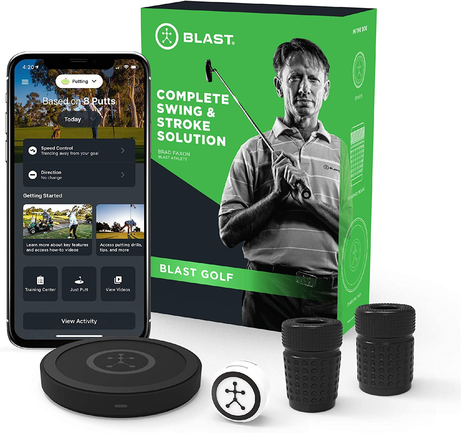Blast Golf Swing Analyzer | Captures Swing and Stroke Metrics | Slo-Mo Video Capture | App Enabled, iOS and Android Compatible | Putting, Short Game, Full Swing