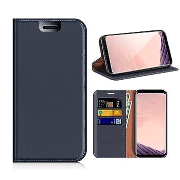MOBESV Funda Cartera Samsung Galaxy S8, Funda Cuero Movil Samsung S8 Carcasa Case con Billetera/Soporte para Samsung Galaxy S8 - Azul Oscuro
