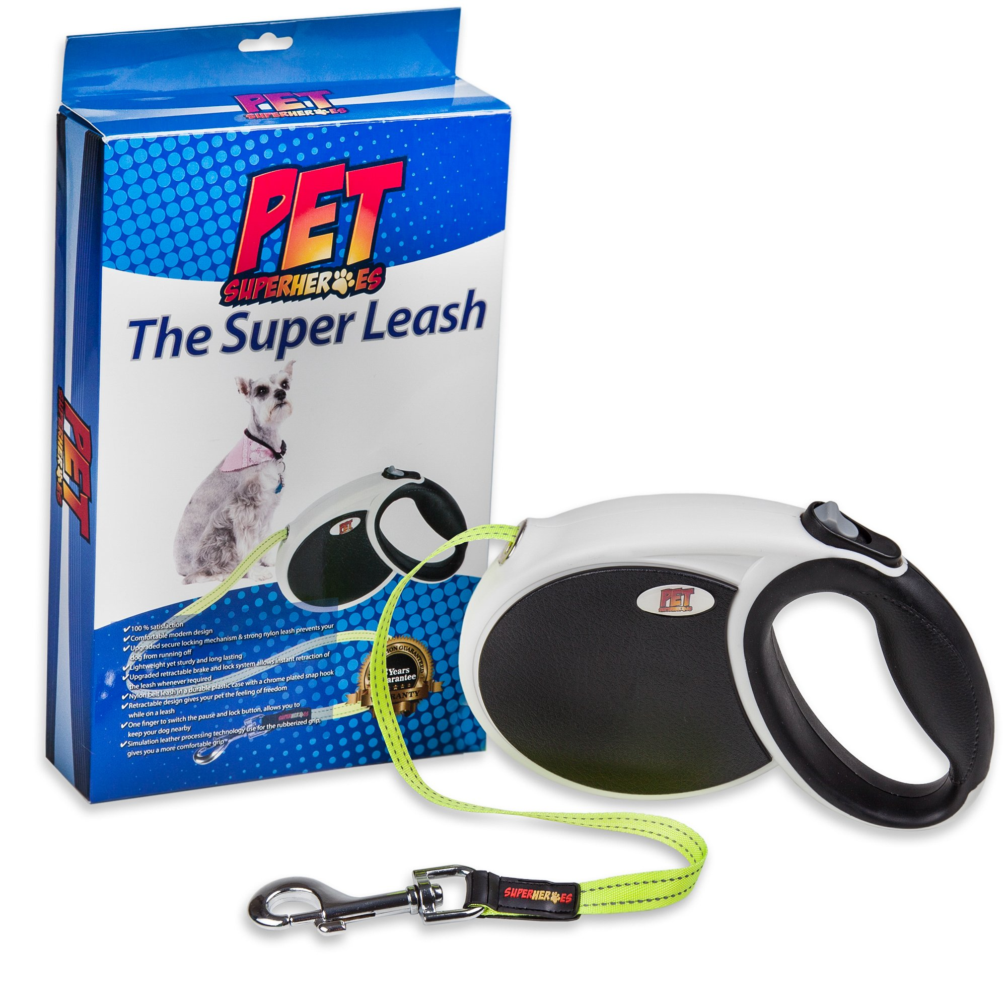 Pet Superheroes Dog Retractable Leash - Best Dog Leash for Training, Running, Walking & Use in the Backyard - Reflective for Safety, Premium Quality Pet Supply (Large)