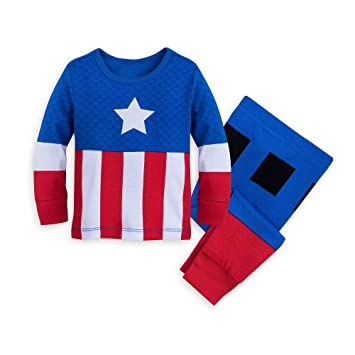 Marvel Captain America Costume PJ PALS for Baby Size 0-3 MO Multi