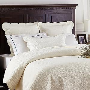 """Calla Angel CASPCTKIV_SGDN Sage Garden Luxury Pure Cotton Quilted Pillow Sham, 36"""" x 20"""", Ivory, King"""