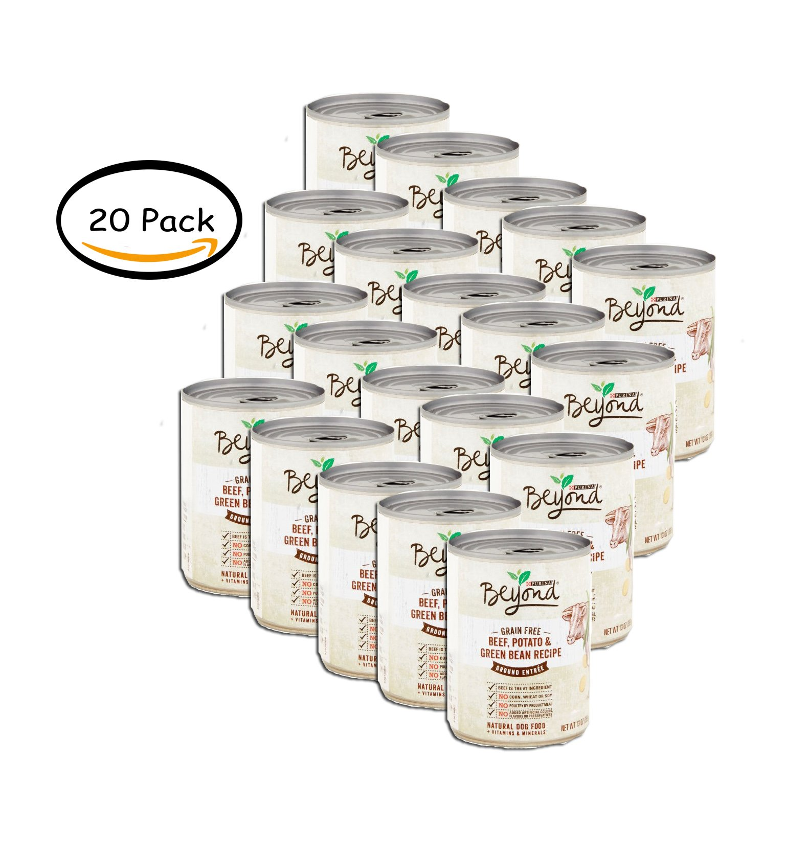 PACK OF 20 - Purina Beyond Grain Free Beef, Potato & Green Bean Recipe Ground Entree Dog Food 13 oz. Can
