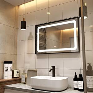Petus PetusHouse 36 X 24 Inch LED Lighted Bathroom Mirrors, Wall Mounted Black Frame White Light Dimmable Defogger Memory Button Waterproof CRI>90, Vertical & Horizontal
