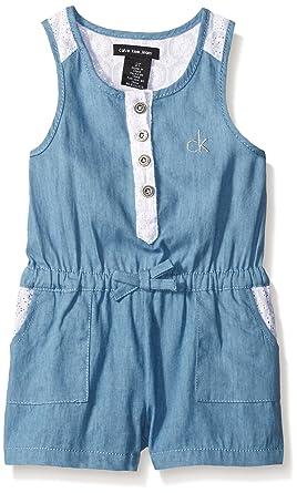 7948147c89f9 Amazon.com  Calvin Klein Baby-Girls Light Denim Romper with Crochet ...