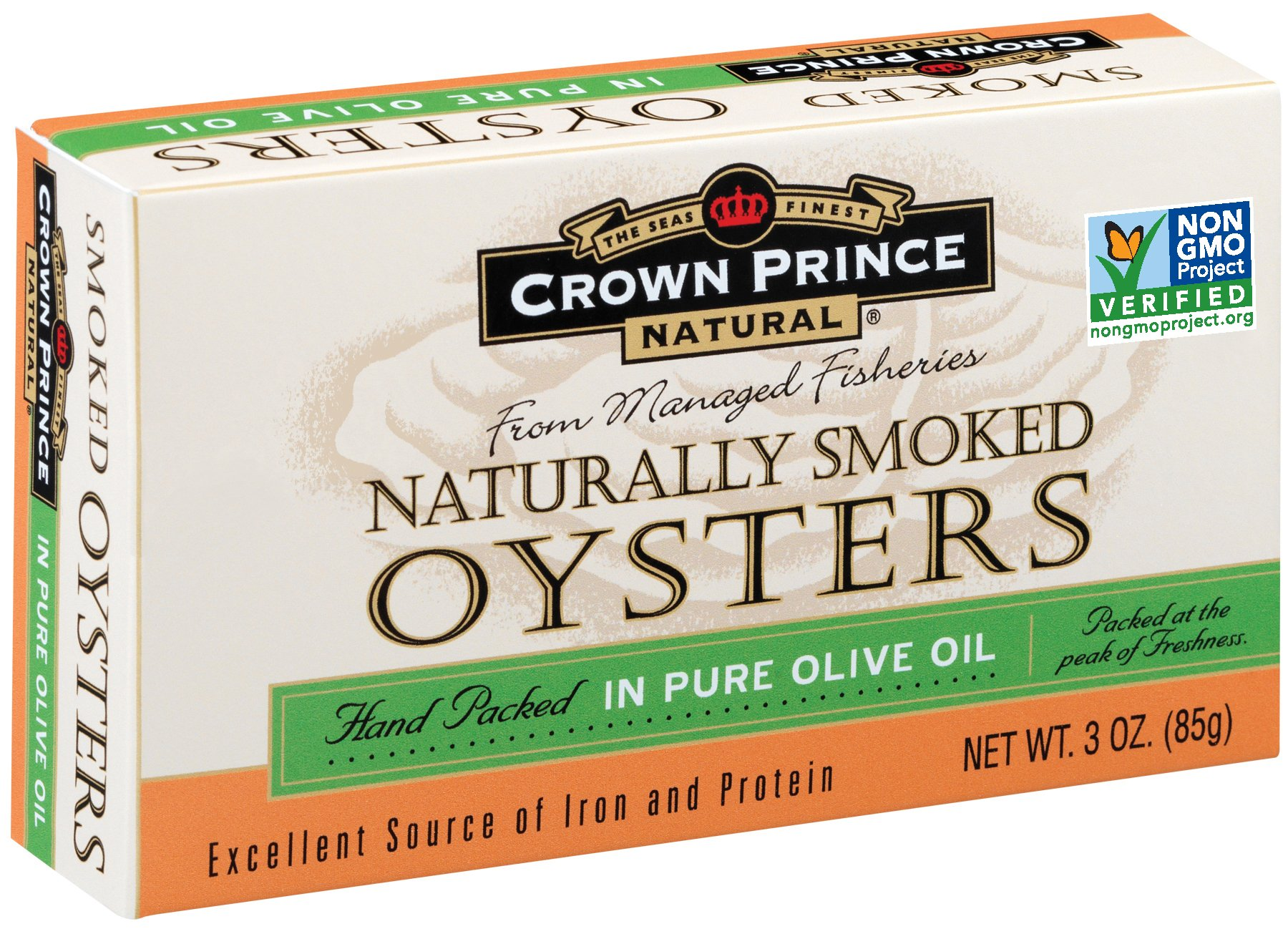Crown Prince Natural Smoked Oysters in Pure Olive Oil, 3-Ounce Cans (Pack of 18)