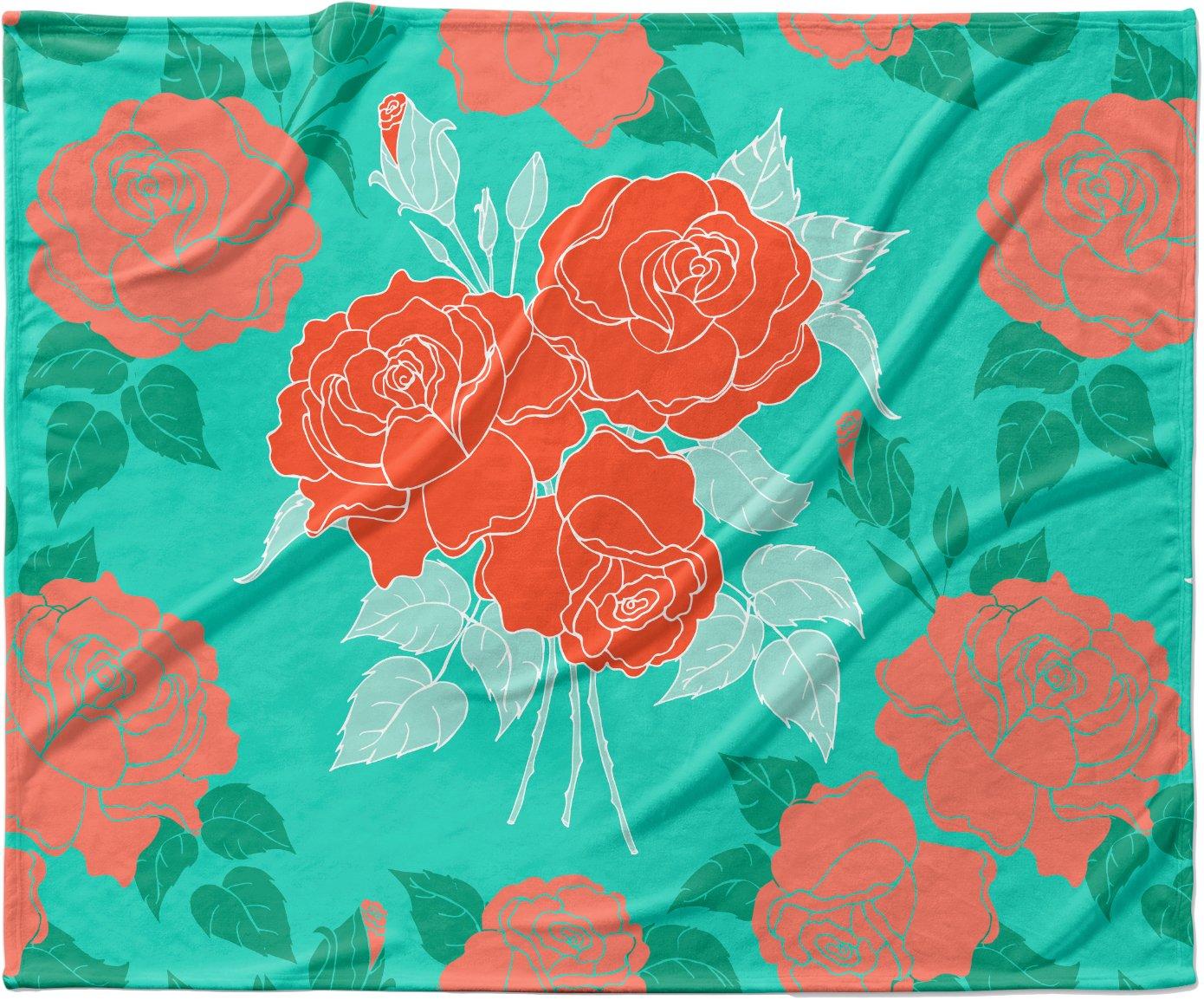 KESS InHouse Anneline Sophia 'Summer Rose Orange' Teal Green Fleece Baby Blanket, 40' x 30'