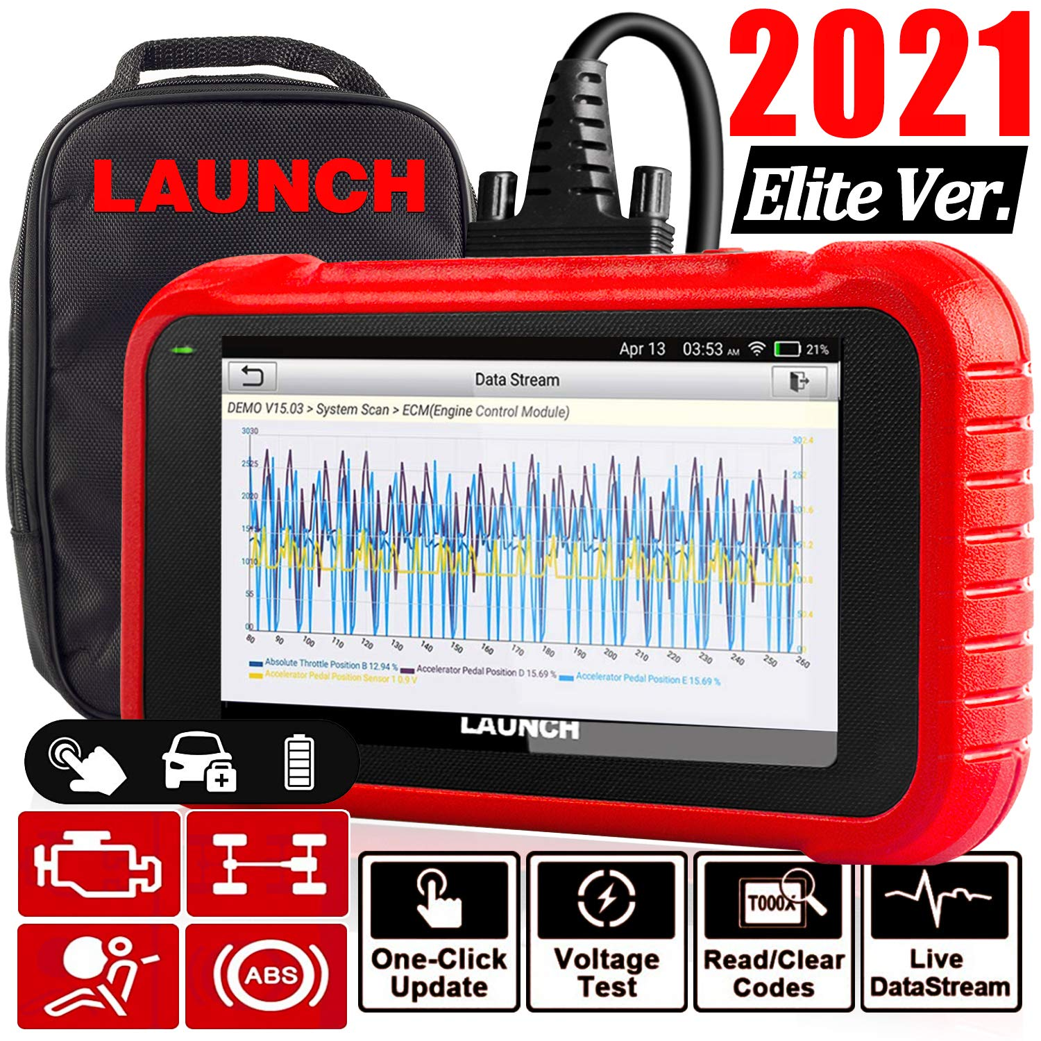 """LAUNCH OBD2 Scanner CRP123E Engine ABS SRS Transmission Code Reader 5"""" Touchscreen, Android 7.0, Wi-fi Free Update Scan Tool, Battery Test, Auto VIN, 5 Years Warranty- Upgraded CRP123 [2021Elite Ver]"""