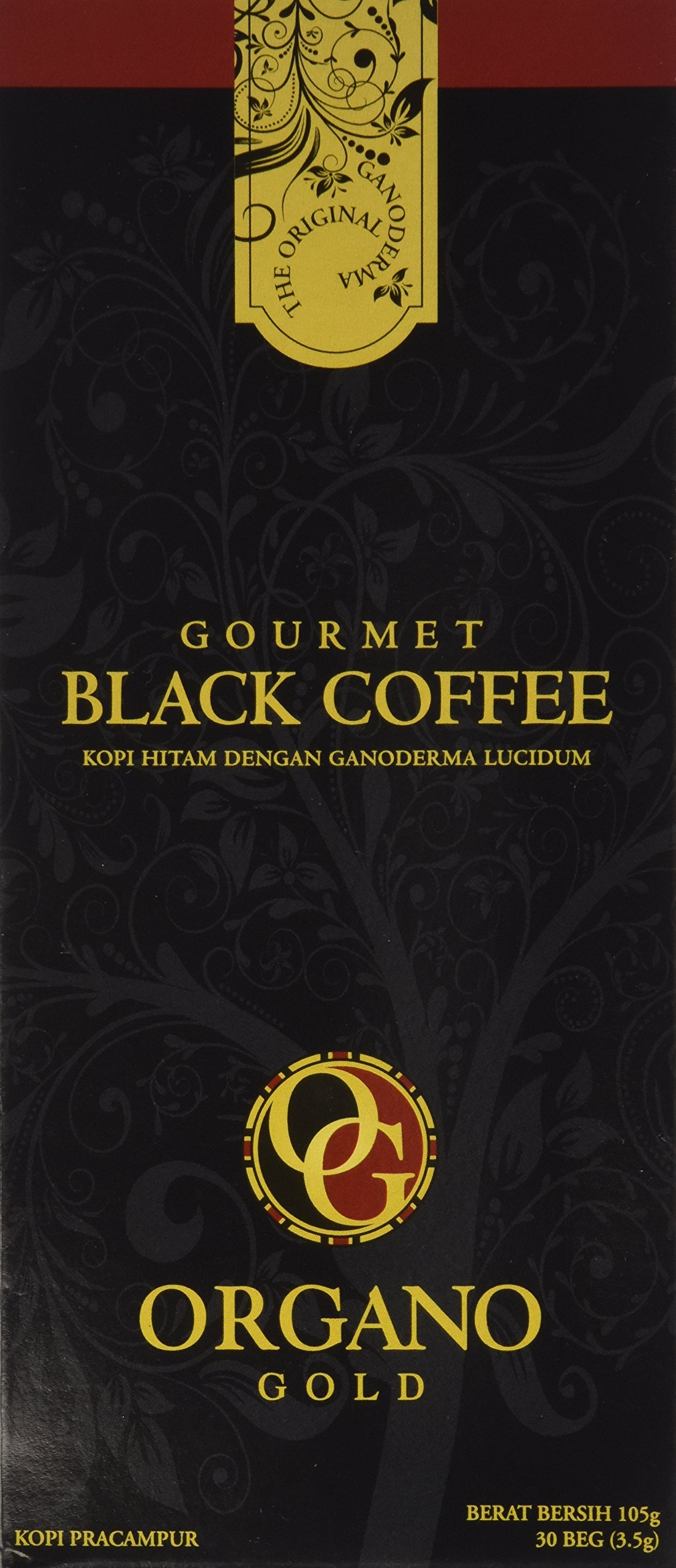 Organo Gold Black Ganoderma Coffee | Gourmet Mushroom Coffee in an Instant with Benefits of Certified Ganoderma Lucidum | 1 Box of 30 Sachets
