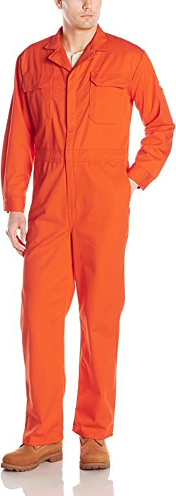 Bulwark Mens Flame Resistant 9 Oz Twill Cotton Deluxe Coverall with Concealed Snap Cuff