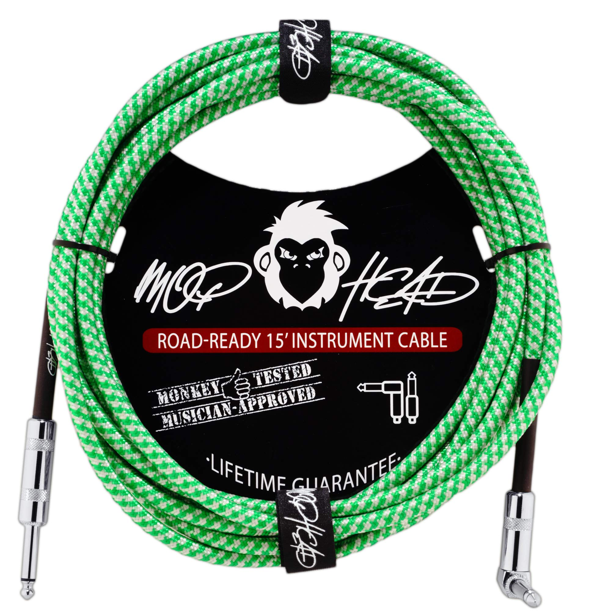 Mophead 15 Foot Double Insulated and Road Ready Braided 1/4'' TS to 1/4'' TS Guitar and Bass Instrument Cable Right Angle Green and White