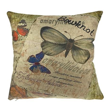 Luxbon Fiori Farfalle Federa per Cuscino in Contone Lino