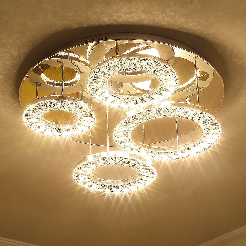 Saint Mossi Modern K9 Crystal Led 4 Ring Chandelier Lighting Flush Mount Ceiling Light Fixture