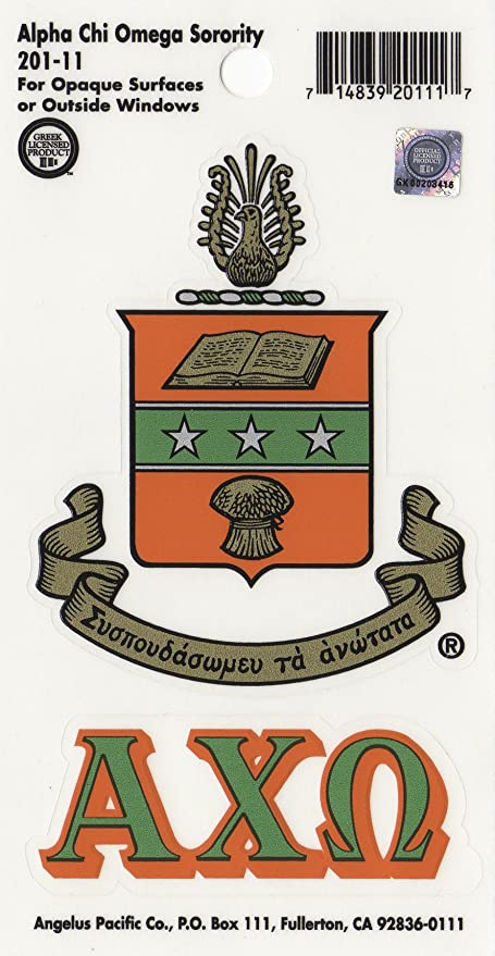 Amazon com : Alpha Chi Omega Sorority Crest Sticker