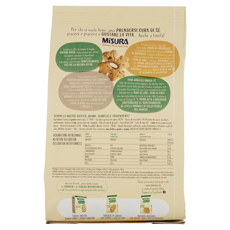 MISURA Galletas Con El Chocolate Gotas Amaranto Y Semillas De Lino Naturaleza Rica 250 Gramos: Amazon.es: Alimentación y bebidas