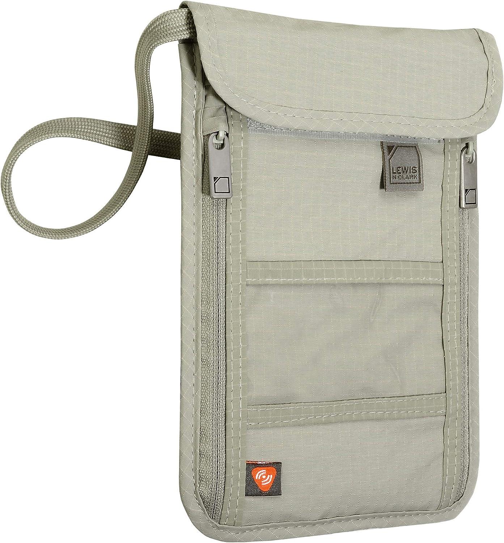 Lewis N. Clark RFID Blocking Stash Wallet, Travel Neck Pouch Passport Holder for Women & Men, Taupe, One Size