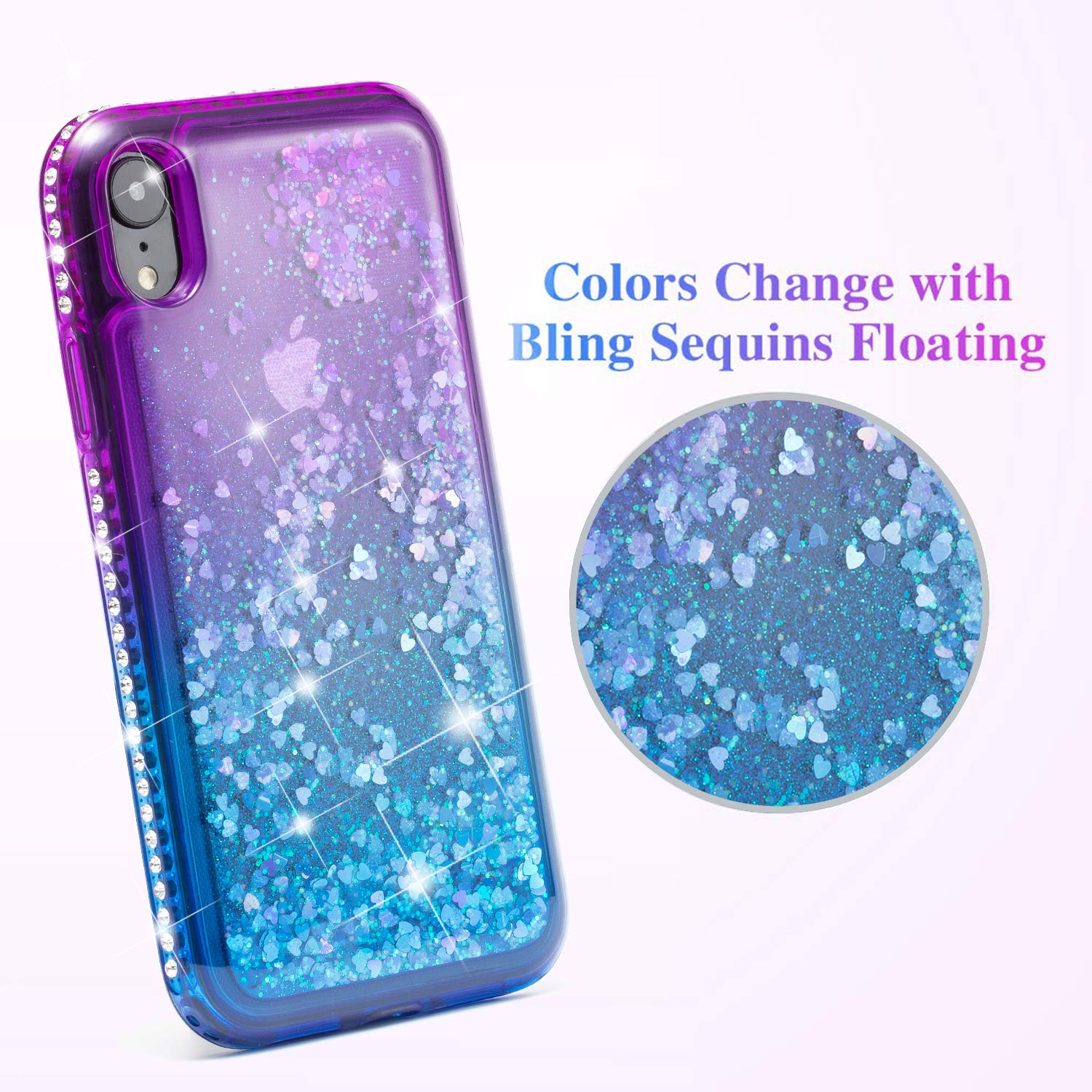 MILANMOOD iphone XR Case, Luxury Floating Glitter Case Sparkle Bling Quicksand Liquid Cover Clear TPU Bumper Cushion Reinforced Corners Girls Women Cute Case Compatible with iphone XR, Purple Blue