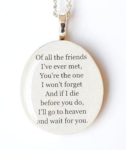 Amazon.com: Best friend quote necklace. Bff necklace. Heaven ...