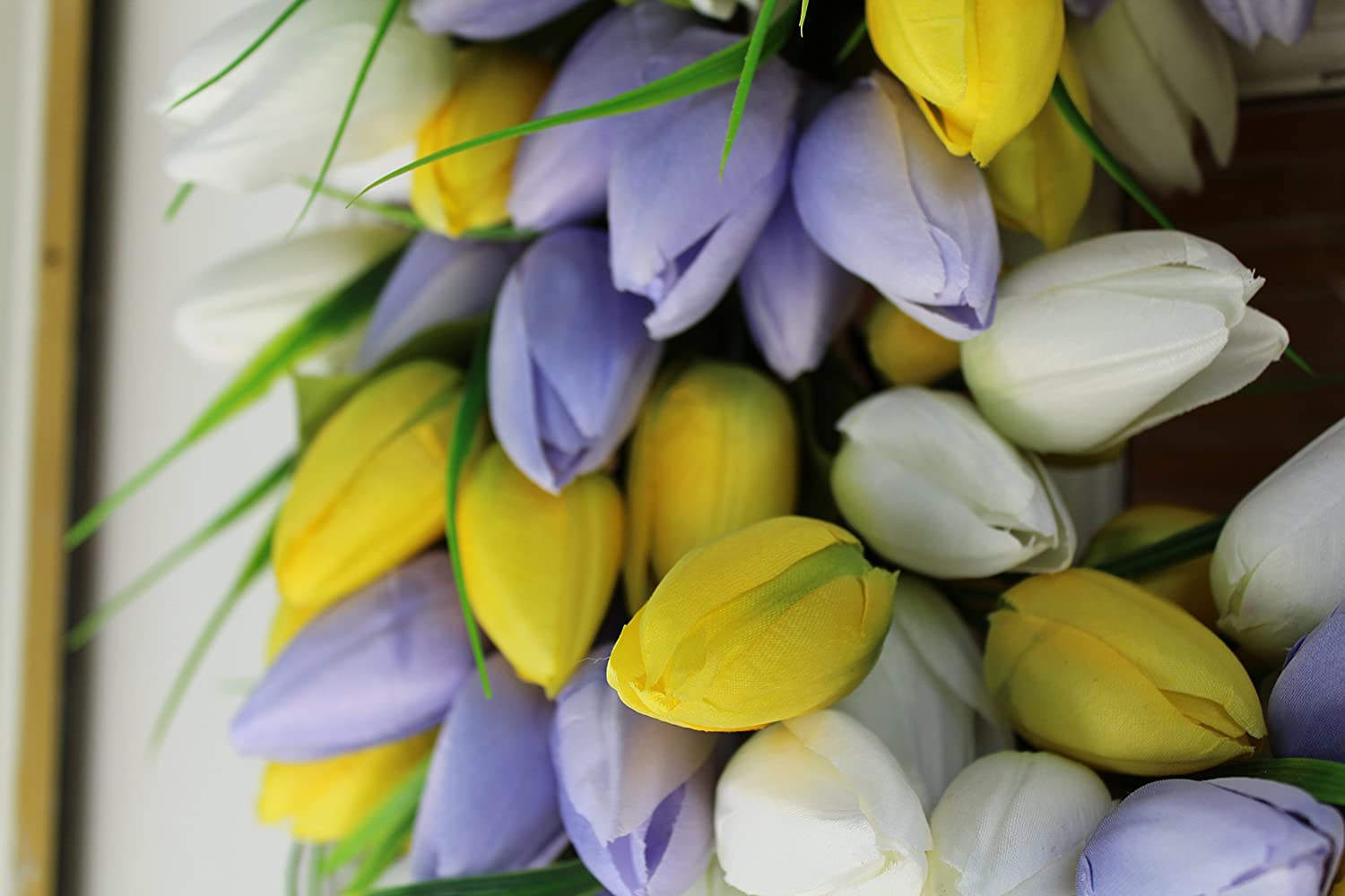 19 Inch The Wreath Depot Yellow and Pale Lavender Tulip Front Door Wreath