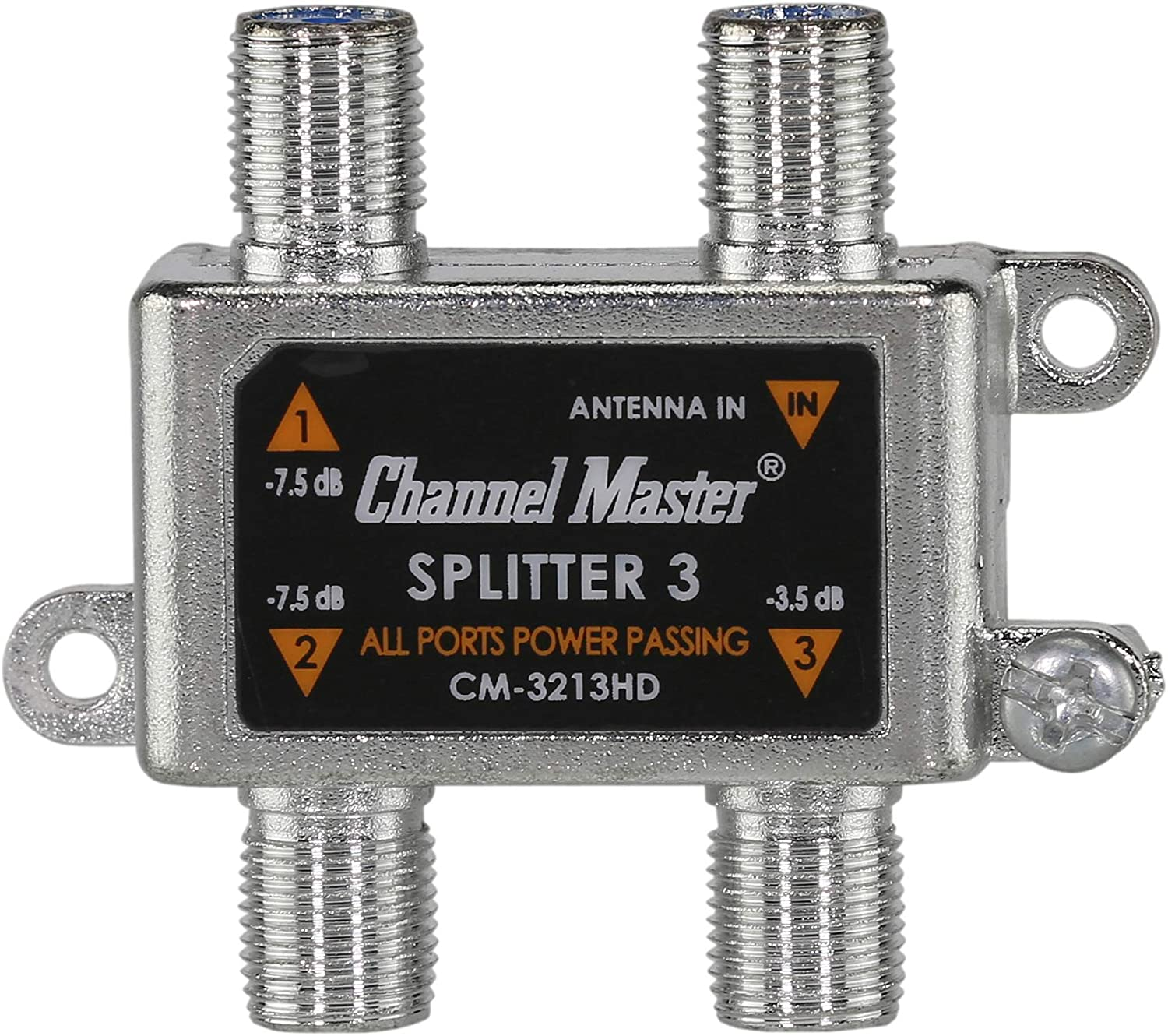 Channel Master CM-3213HD 3-Way Splitter Power Passing for TV Antenna and Cable Signals