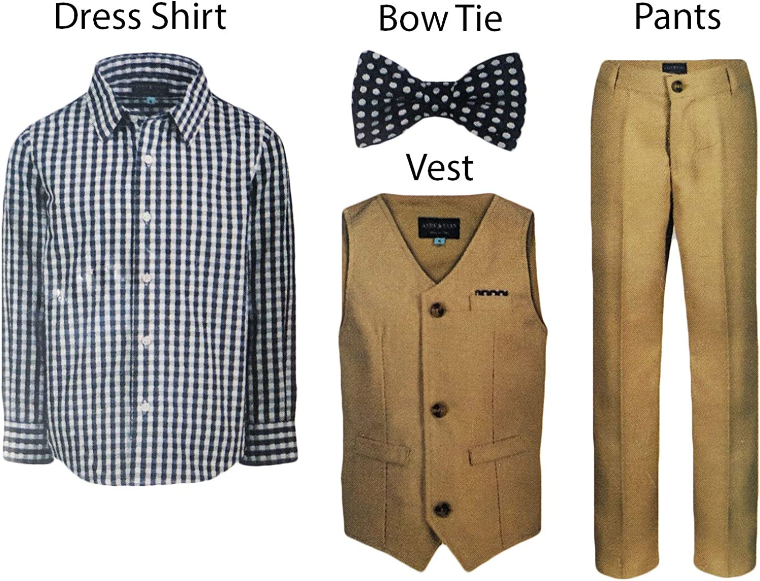 Andy /& Evan Boys Formal 4-Piece Suit with Vest Tie Shirt and Pants