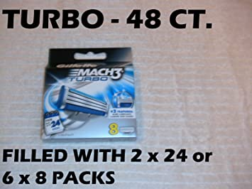 (Wholesale 2 Pack) Gillette Mach3 Turbo Refill Cartridge Blades, 24 Count (48
