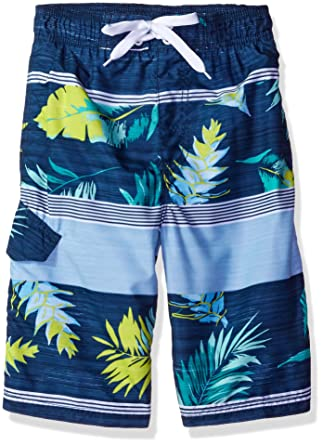 a280adccd3 Kanu Surf Little Boys' Toddler Condor Stripe Floral Swim Trunk, Navy, ...