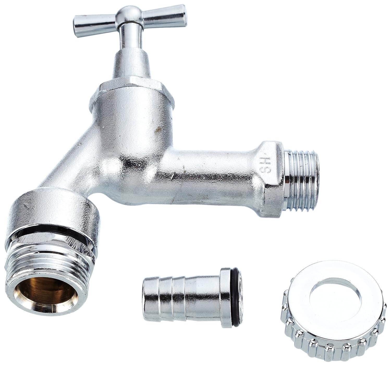 HS 92200015 Auslaufventil mit Belü fter, Rü ckflussverhinderer Schlauchverschraubung Knebel (1/2'), matt verchromt Rü ckflussverhinderer Schlauchverschraubung Knebel (1/2)