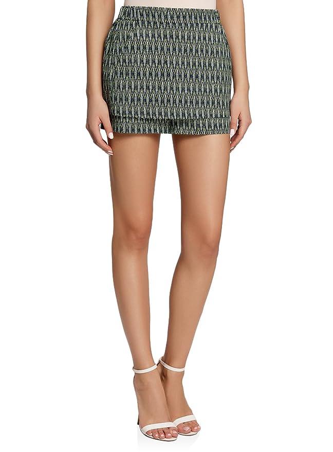 oodji - Short elegante de dos capas para fiesta - Pantalón corto elegante de dos capas estampado.