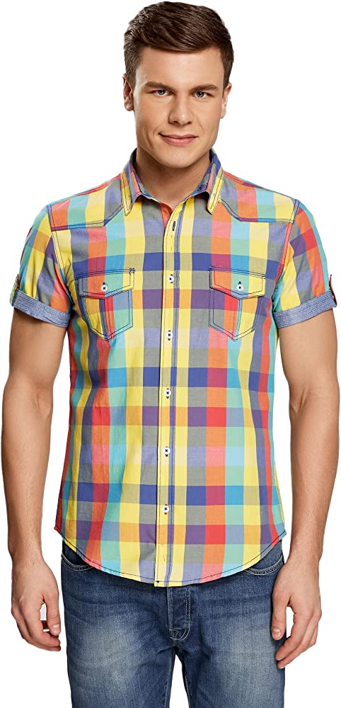 oodji Ultra Hombre Camisa a Cuadros Entallada de Manga Corta, Multicolor, 44: Amazon.es: Ropa y accesorios