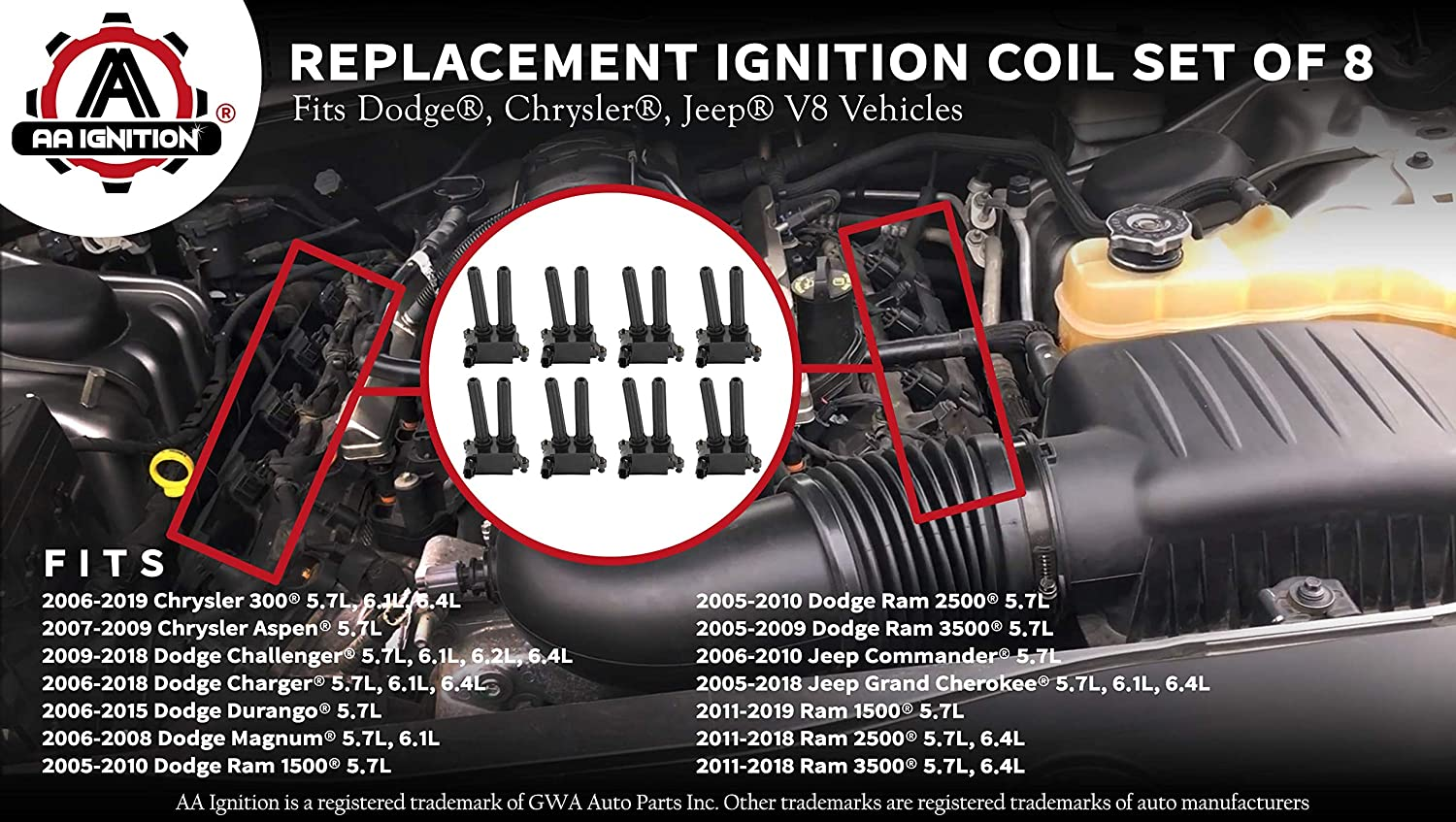 6.4L HEMI Ignition Coil Pack Set of 8 Jeep Grand Cherokee 5.7L 3500 Challenger 5.7L 56029129AF Dodge Charger Fits Dodge Ram 1500 6.1L Commander 56029129AA UF-504 Replaces 5602129AA 2500