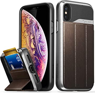Leather Vena Wallet Case Compatible with Galaxy S10, // Black vCommute TPU // Black Flip Leather Cover Card Slot Holder Military Grade Drop Protection PC Space Gray