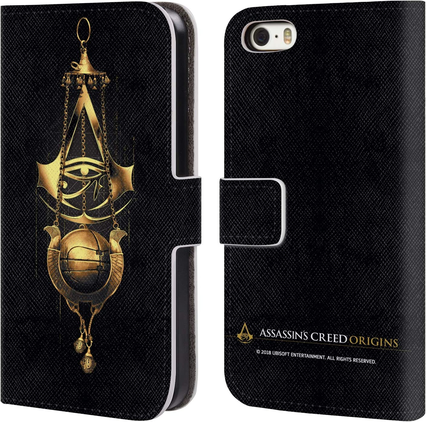 Head Case Designs Officially Licensed Assassin's Creed Piece of Eden Origins Crests Leather Book Wallet Case Cover Compatible with Apple iPhone 5 / iPhone 5s / iPhone SE 2016