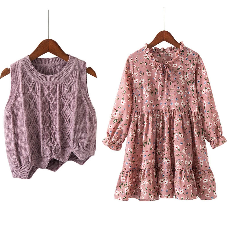 3-12 Yrs Baby Girls Long Sleeve Dress Knit Vest+Dress Print 2 Piece Sets Children Dresses 2019 New Winter Spring Kids Costume,Pink,8